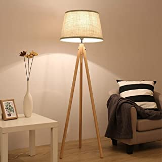DLLT Unique Wooden Tripod Floor Lamps, Tall Mid Century Modern Lamp, Rustic Standing Lamp Decorations for Living Room, Bedroom, Bright Reading Light with Fabrics Lampshade,8W-Warm Light