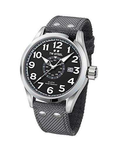 TW Steel VS11 Volante - Reloj Analógico de Pulsera con Movimiento de Cuarzo para Hombre, Caja Acero Inoxidable, Cristal Mineral, Correa Textil, Gris, 45 mm