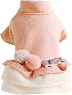 KCPer Small Dog Cute Warm Sweater Pet Fashion Beautiful White Love Heart Princess Style Sweater Dress Red Female Girl Dog Puppy Cat Winter Fall Spring Soft Knitwear Pullover Clothes Apparel
