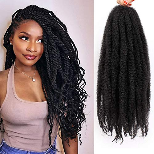 6 Packs Marley Twist Hair 24 inch Afro Kinky Curly Marley Braids Hair Extension For Twists Synthetic Fiber Marley Braiding Hair For Faux Locs (#1B)