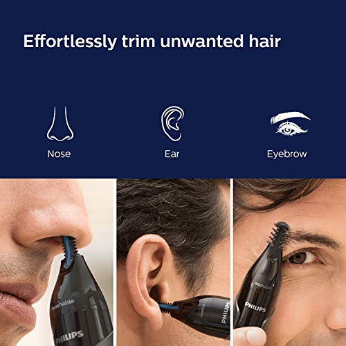 Philips Nose Trimmer Nt3650/16, Cordless Nose, Ear & Eyebrow Trimmer with Protective Guard System, Fully Washable, Including AA Battery, 2 Eyebrow Combs, Pouch (Gray)