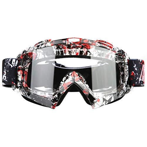 Qiilu Gafas de Moto, Qiilu Gafas Protección para Moto Motocross Esqui Deporte Ciclismo Carretera(P932 blanco)