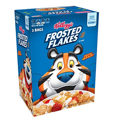Kellogg's Breakfast Cereal, Frosted Flakes, Fat-Free, Family Size, 61.9 oz (2 Bags)