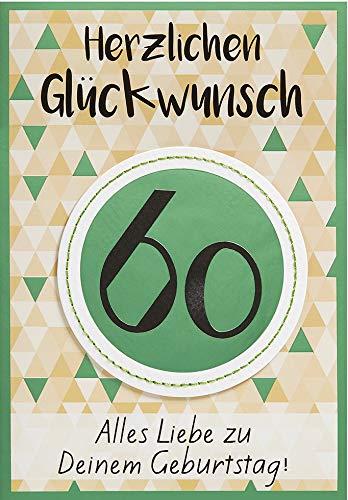 Geburtstagskarte zum 60. Geburtstag Lifestyle - Muster - 11,6 x 16,6 cm