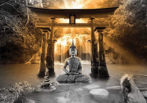 decomonkey Fototapete selbstklebend Buddha 196x140 cm XL Selbstklebende Tapeten Wand Fototapeten Tapete Wandtapete klebend Klebefolie Zen Orient Wasserfall Natur