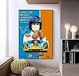 Sunsightly Steve Mcqueen Race Car 24 Horas De Le Mans Lienzo Nórdico Impresión Póster Pintura Arte de la Pared Decoración de la Pared de la Sala De Estar - Sin Marco