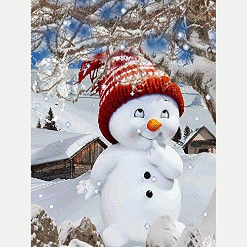 Rhinestone Painting Cartoon Cute Snowman Square DIY Diamond Painting Home Decor 3D Cross Stitch Diamond Embroidery Pattern Gift - 40x45cm