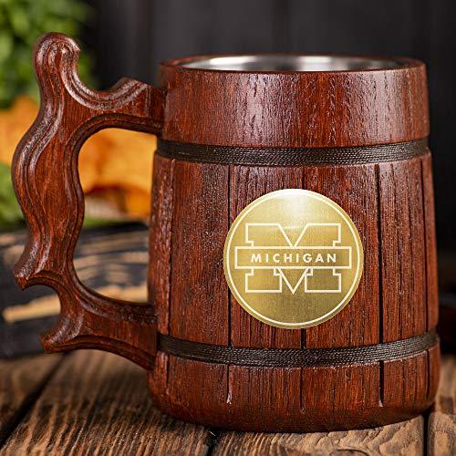 University of Michigan Beer Stein, Personalized Sport Wooden Beer Mug, Custom Beer Stein, Sport Lover Tankard, Gift for Men, Gift for Him