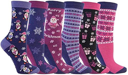 3x Pairs of Ladies Novelty Fun Christmas Socks / UK 4-8...
