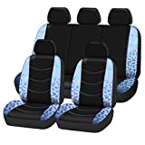 CAR-GRAND Universal Fit Gorgeous Butterfly Leather Car Seat Covers with Zipper Design, Full Set Package,Airbag Compatible (Light Blue)