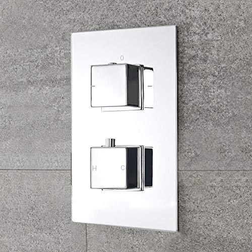 Hudson Reed Miscelatore Doccia Termostatico 2 Vie con 2 Manopole Quadrate - Design Moderno ad Incasso - Ottone Solido Quadrato