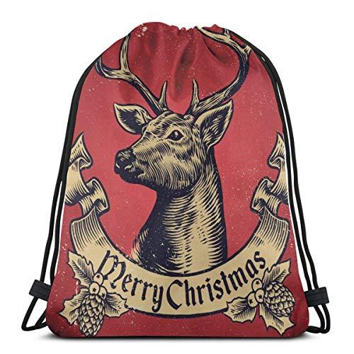 LREFON Mochila con cordón para gimnasio, mochila navideña con ciervos, mochila para viajes, almacenamiento, organizador de zapatos, hombro escolar, compras para estudiantes