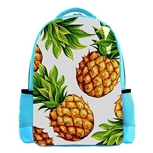 Mochila azul para niños y libros, para hombre, bolsa de viaje, pintura de piña, hojas verdes, verano