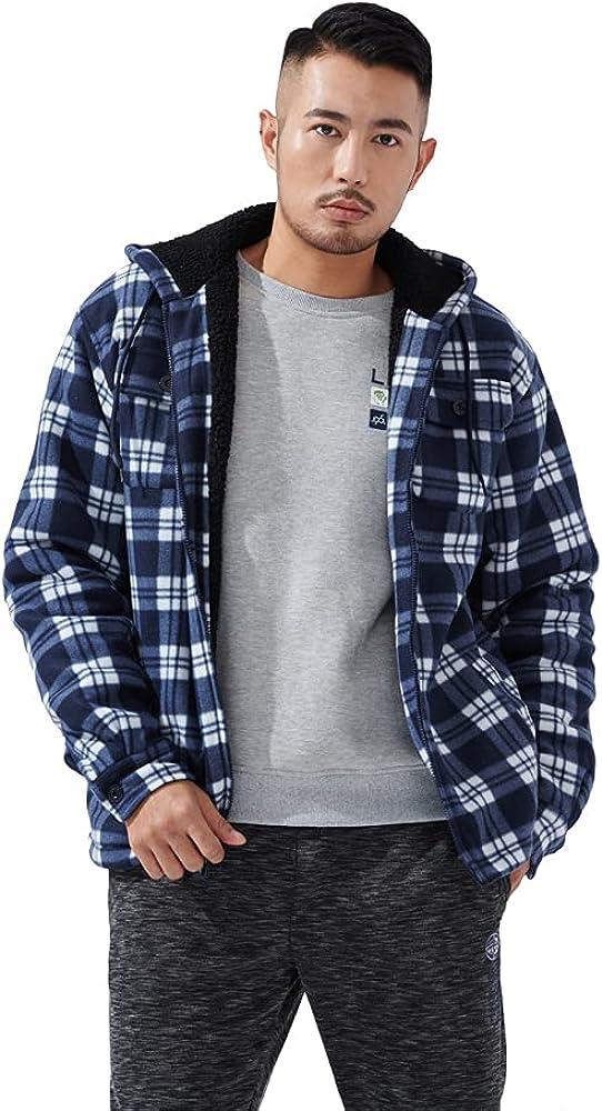 LeeHanTon Mens Flannel Jackets Sherpa Lined Fleece Heavyweight Winter Warm Outdoor Long Sleeve Plaid Hoodie