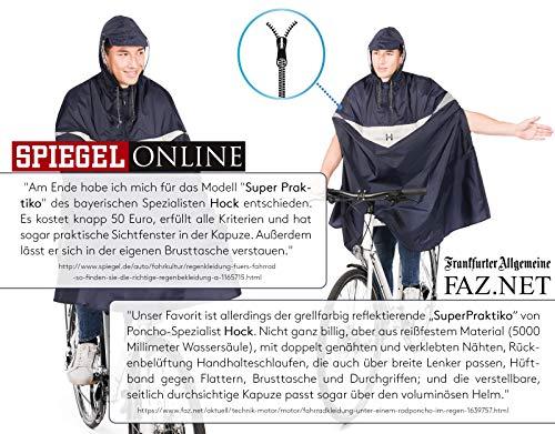 HOCK Premium Fahrrad Regenponcho 'Super Praktiko' mit Lüftung und seitlicher Armöffnung – 100,0% Wasserdichter Fahrradponcho für Herren & Damen (Blau, L) - 2