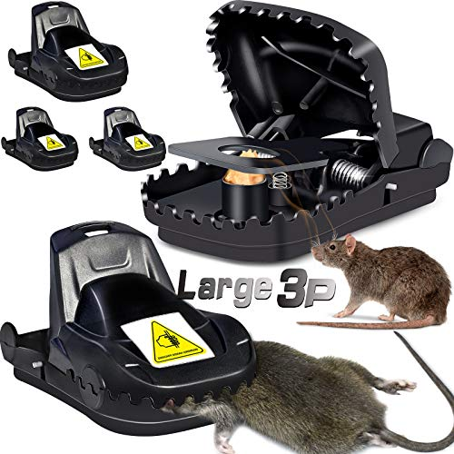 Large Mouse Trap Rat Traps for House Power Quick Snap Mice Trap Mouse Rat Killer for Home Indoor Outdoors Rodent Mole Rat Traps That Work 3 Pack