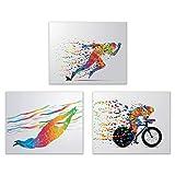 Triathlon Wanddekoration – Set von 3 Poster-Fotos –