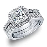 MABELLA Princess Sterling Silver Cubic Zirconia Wedding Engagement Ring Set Gifts for Women ,Size 6