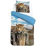 ESPiCO Bettwäsche Sleep and Dream Leopard Fels Wildnis Bunt Wildkatze Raubtier Afrika Safari Wildtier Tiermotiv Renforcé, Größe:135 cm x 200 cm
