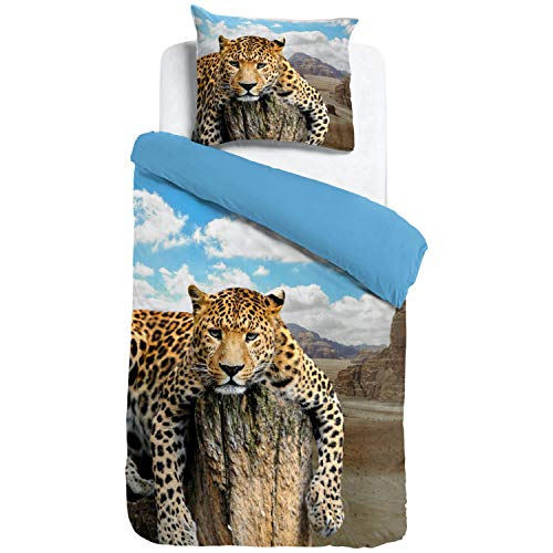 ESPiCO Bettwäsche Sleep and Dream Leopard Fels Wildnis Bunt Wildkatze Raubtier Afrika Safari Wildtier Tiermotiv Renforcé, Größe:135 cm x 200 cm