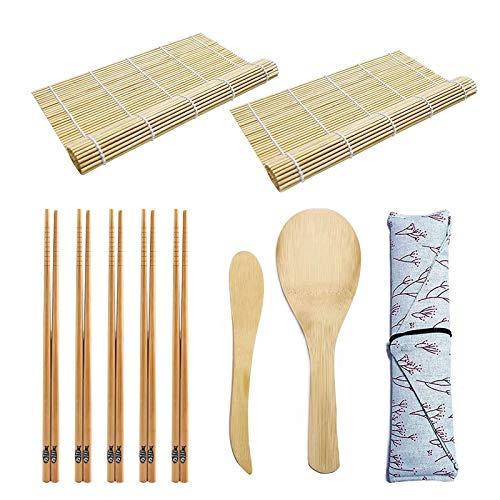 TUT Sushi Kit, 10 Pezzi Set Preparazione Sushi Completo, Kit per Fare Sushi in bambù, Set di Strumenti per la Preparazione del Sushi, Tappetino per Arrotolare Il Sushi,Stuoia Sushi