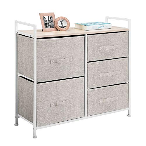 mDesign Wide Dresser Storage Tower - Sturdy Steel Frame Wood Top Easy Pull Fabric Bins - Organizer Unit for Bedroom Hallway Entryway Closets - Textured Print 5 Drawers - LinenTan