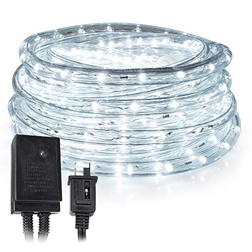 West Ivory LED Rope Lights – 150 ft, White – Water Resistant Tube Light with 8 Flickering/Fading Modes – Connectable – Suitable for Indoor & Outdoor Use – Built-in Safety Fuse