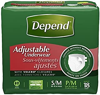 Pack of 3 - Depend Adjustable Incontinence Underwear Maximum Absorbency S/M, 18Count