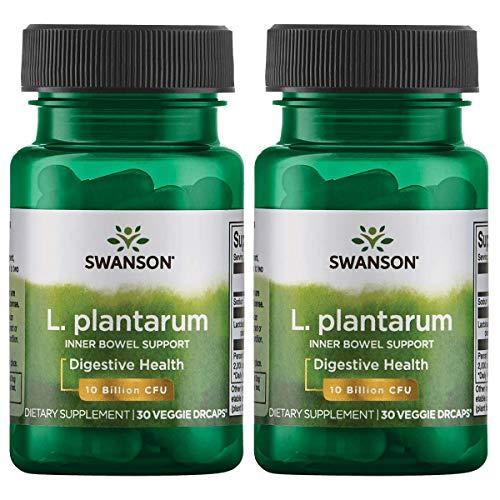 Swanson L. Plantarum Probiotics Bowel Regularity Gas Bloating Immune Support Gastrointestinal Balance 10 Billion CFU Supplement 30 Veggie Capsules (2 Pack)