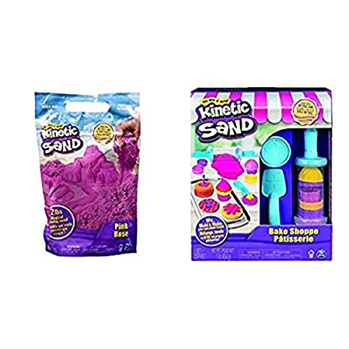 Kinetic Sand The Original Moldable Sensory Play Sand, Pink, 2 Pounds and Kinetic Sand, Bake Shoppe Playset with 1lb of Kinetic Sand and 16 Tools and Molds, for Ages 3 and Up