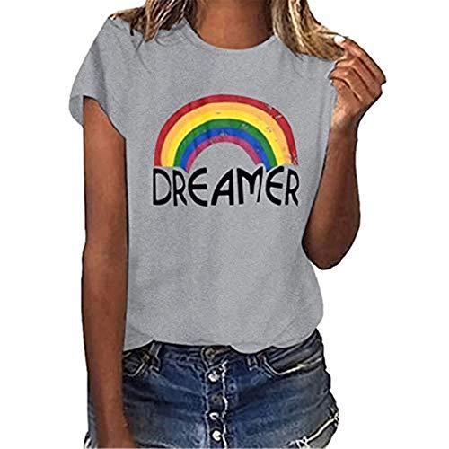 Camisetas Verano Mujer,Tops Blusas Camiseta Manga Corta de Arcoiris Impresión de Talla Grande Tops Casual Fiesta T-Shirt Camiseta Suelto Básicade Cuello Redondo Camiseta Ropa de Mujer Camisas y Blusas