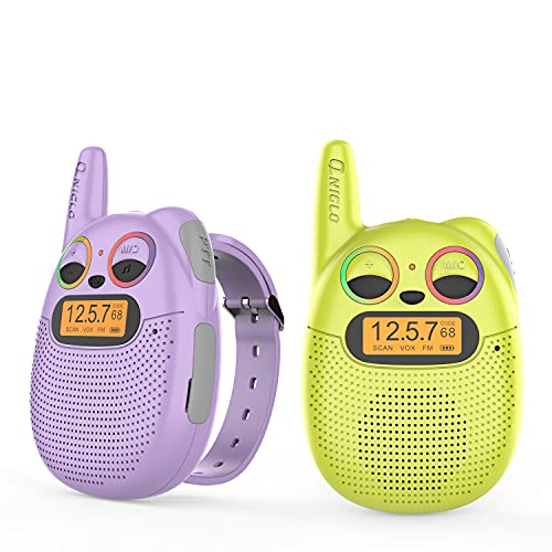 QNIGLO Q136 Mono Walkie Talkie Niños Recargable,Radio FM 2 Km Alcance Código de Privacidad,Montar en Bicicleta Correr,Regalo Festivo y Herramientas Campante para Niños y Ancianos (VioletaVerde)
