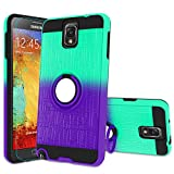 Atump Galaxy Note 3 Case, Note 3 Phone Case with HD Screen Protector, 360 Degree Rotating Ring Holder Kickstand Bracket Cover Phone Case for Samsung Galaxy Note III,N9000,N9005,Note 3 Mint/Purple