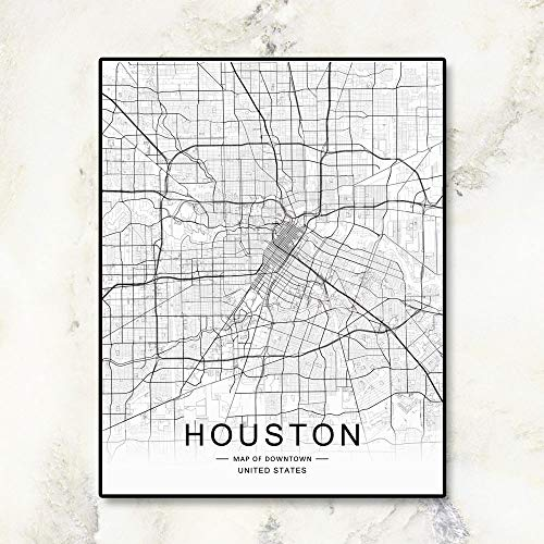 Houston City Map, Downtown Map, Houston Street Wall Art,City Road Art, Houston City Map, Office Wall Hanging, Workplace Wall Decor, 8x10 inch No Frame
