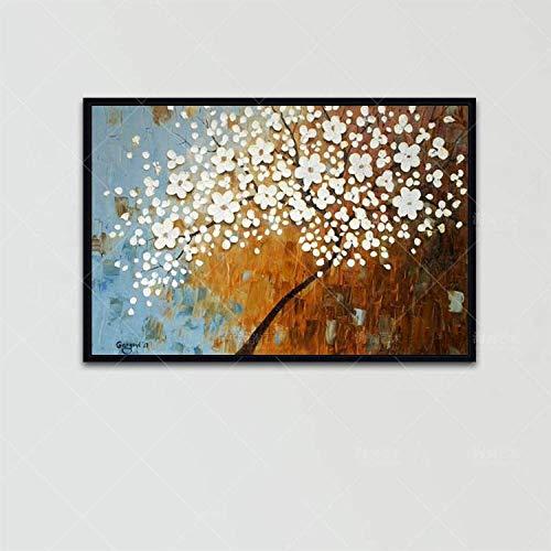 Olieverfschilderij op canvas handgeschilderd, abstracte Botanische bloem, spatel witte bloemenpatroon zwart trouw, grote moderne home decoratieve kunst voor woonkamer hal ingang slaapkamer eetkamer muur 140 x 210 cm
