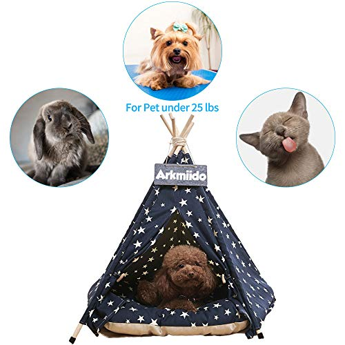 Pet Teepee Dog & Cat Bed with Cushion- Luxery Dog Tents & Pet Houses with Cushion & Blackboard (Star)