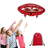 UFO Drone Hand Operated Drone for Kids Children Toys Mini UFO Drone Flying Ball Toy Gifts for Boys and Girls Drone 5 6 7 8 9 10 Years Old Kids Indoor Drone with Gift Bag (Red)