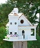 Home Bazaar White Flower Pot Cottage Bird House