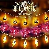 Halloween Guirnalda Luces丨3 PCS Decoración Halloween Luces LED Hadas丨10 Calabazas Amarillas丨10 Fantasmas Blancos丨 10 Murciélagos Morados丨Decoraciones para Fiestas Navidad de Halloween