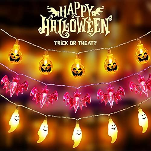 Lucine di Halloween丨3 tipi 1,5 m Decorazione di Halloween Luci fatate a LED丨10 zucche gialle丨10 fantasmi bianchi丨10 pipistrelli viola丨2 batterie AA丨Decorazioni per feste di Natale di Halloween