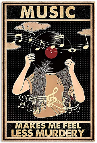 Music Makes Me Feel Less Murdery Music Vertical Canvas Art Canvas 0.75 Inch Print Size 8x12, 12x18, 16x24, 24x36 Inches