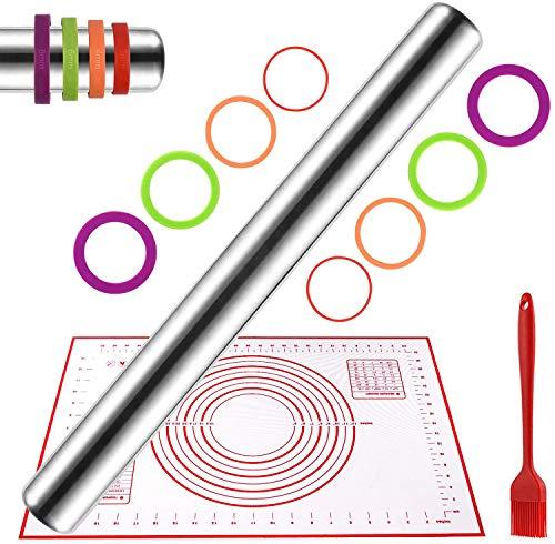Uarter Mattarello e tappetino per pasticceria in silicone con set di pennelli - Rullo in acciaio inossidabile 304 antiaderente con anelli di spessore regolabile per la cottura, rosso