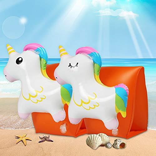 infinitoo Schwimmflügel Kinder, Schwimmhilfen für Kinder und Kleinkinder von 3-6 Jahren, Körpergewicht 15 bis 30 kg, mit 3D-Cartoon-Einhorn für Pool-, Wasserpark- oder Strandaktivitäten im Sommer