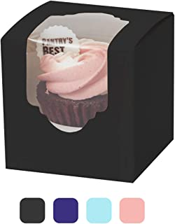 """Yotruth 2.5"""" x 2.5"""" x 2.5""""Black Mini Cupcake Boxes single individual Easy Assembly with Window and Insert 50 Pack"""