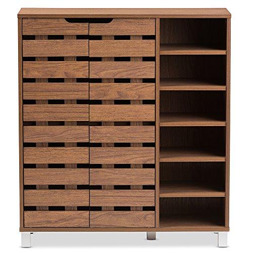 Baxton Studio Eloise Modern amp Contemporary Beech Wood 2 Door Shoe Cabinet with Open Shelves Walnut