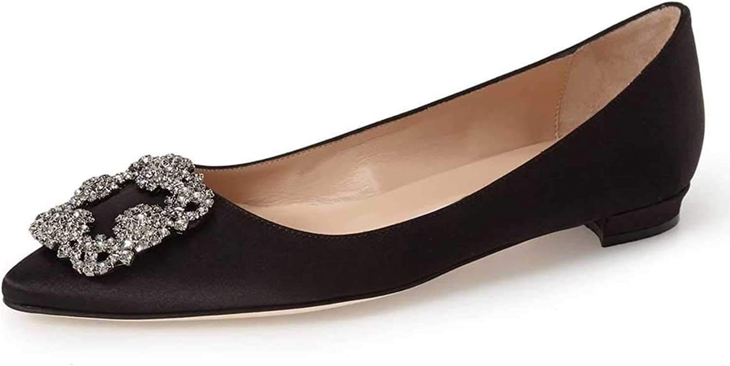 FSJ Women Classic Crystal Satin Flats Low Heels Pumps Pointed Toe Office Slip On shoes Size 4-15 US