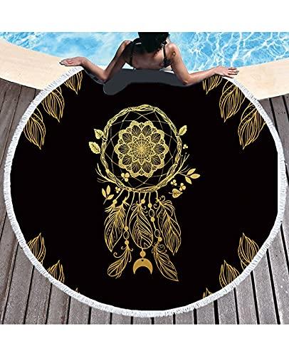 WLL Toallas De Playa De Golden Sun, Toalla para La Playa Redonda,Toalla De Mano, Toalla De Baño, Unisex - 59' (Color : D)