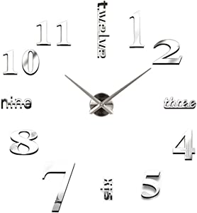 Personality Home Mirror Wall clock Mute clock Wall Sticker DIY Wall clock Frameless Modern 3D Mirror Stickers Room Home Office Decorations (Silver)