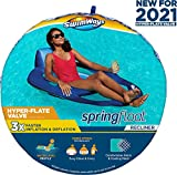 SwimWays Spring Float Recliner Pool Lounge Chair with Hyper-Flate Valve, Blue