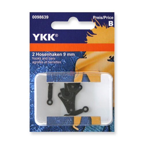 YKK 98639 Hosenhaken 9,0 mm schwarz, 2 Stück